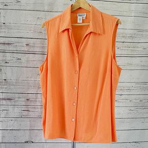 Coldwater Creek orange sleeveless button down/XL